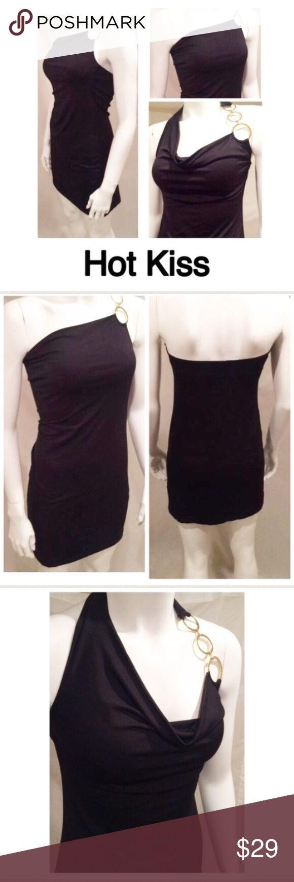 Hot Kiss Halter Sexy Little Black Dress Small Hot Kiss Halter Sexy Little Black Dress Gold Hardware Small Juniors  Every girl needs a sexy little black dress!   92% Polyester / 8% Spandex   No stains or holes 🛍For the best deal, I offer a bundle discount! Please check out my closet for other fabulous items!🛍 Hot Kiss Dresses One Shoulder