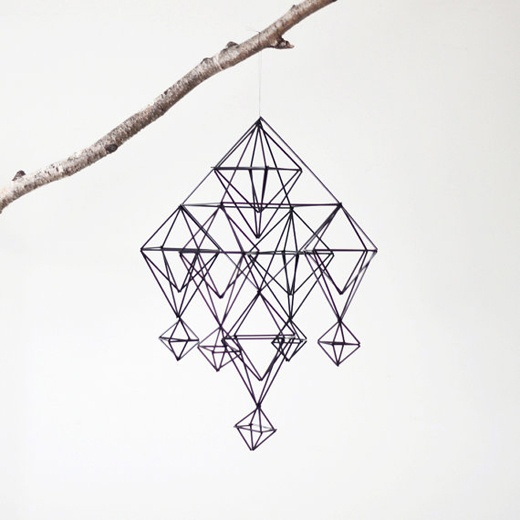 Geometrical three dimensional mobiles based on the Finnish himmeli tradition, made by Melissa of AM radio