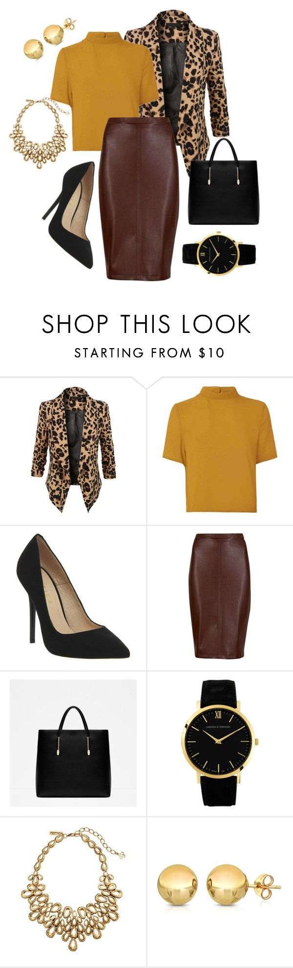 """Naispomo"" by jiroutconsulting on Polyvore featuring LE3NO, Glamorous, Office, M&S Collection, Zara, Larsson & Jennings, Oscar de la Renta and Sevil Designs"