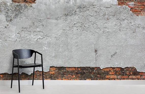 3d Old Red Brickgreydamaged Plaster Wallpaper Removable Etsy Brick Effect Wallpaper Mural Wallpaper Old Brick Wall