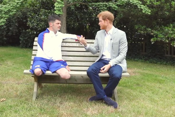 Prince Harryturned television journalist today as he interviewed an injured army hero about the healing power of sport. The 32-year old prince, who is more used to being quizzed himself, instead questioned former Army captain Dave Henson about his fightback after suffering horrific injuries serving in Afghanistan. The serviceman lost both legs above the knee stepping on a mine in Helmand Province in 2011 while on patrol with the Royal Engineers.