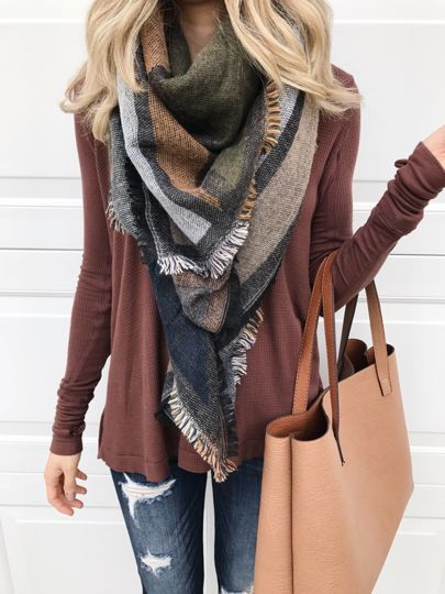 It's November... bring on the earth tones. This $29 scarf is perfect for Thanksgiving and the color of this swing top is perfect on its own if it's warmer or layered for cooler weather. Plus- my tote is under $50! Details via email or through profile link http://liketk.it/2pxSE @liketoknow.it #liketkit
