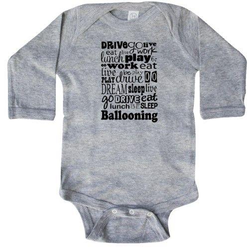 Inktastic Ballooning Quote Gift Long Sleeve Creeper Ballooner Hobby Hobbies Eat Sleep Balloonist Balloon Hws, Infant Boy's, Size: Newborn, Grey