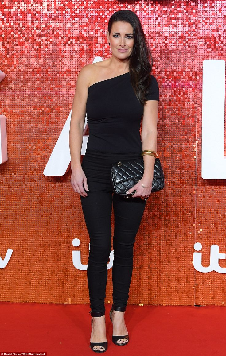 Leggy: Kirsty Gallacher showed off her gym honed figure in a black one-shouldered top and ...