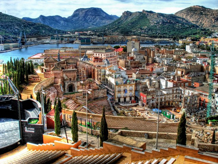 Spain, Murcia (autonomous region), Cartagena by the Mediterranean Sea. Ruins of the Roman amphitheatre & the Santa Maria La Vieja Cathedral.