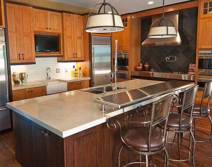 Kitchen Concrete Countertop Island Made With CHENG Pro Formula Mix In  Platinum