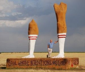 Forget Cadillac Ranch. If you're near Amarillo, Texas, visit the Huge Pair of Legs