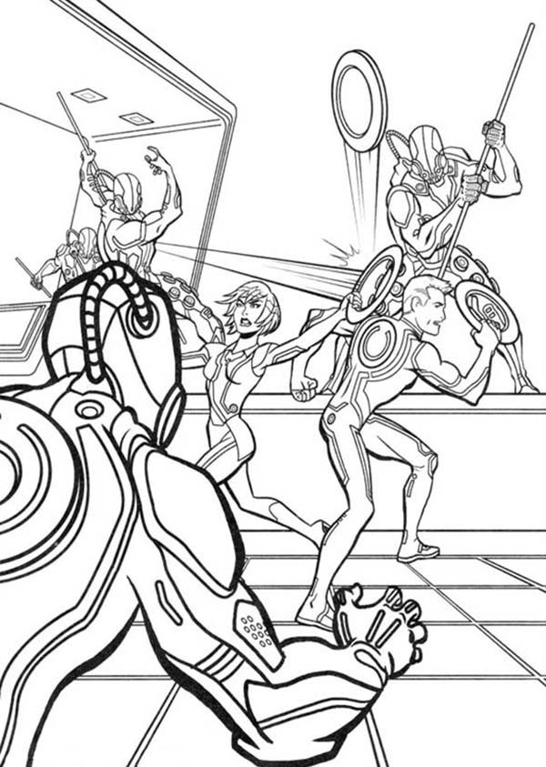 Tron Legacy Quorra And Sam Attack By CLU Army Coloring ...