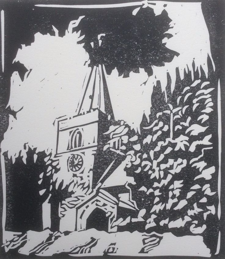 Lino cut - Ratby Church Leicestershire By Lesley Brooks