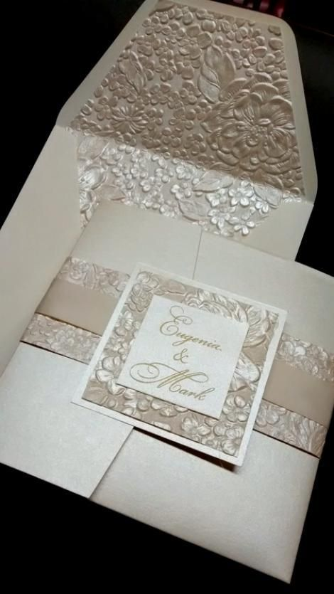 Ivory Floral Pocket Invitation. clovercreek.com