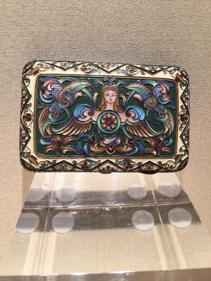 porta sigarette in argento dorato  smaltato / argenti Russi / smalti cloisonnè / Moscow / Russian silver / cloisonnè enamel /cigarette case di Sanmarcoartedesign su Etsy