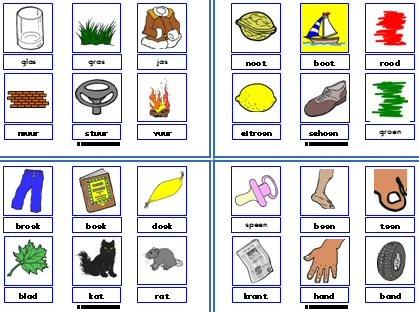 Kleine rijmkaarten met diverse mogelijkheden. Stempelen, trio's maken, aanvullen.