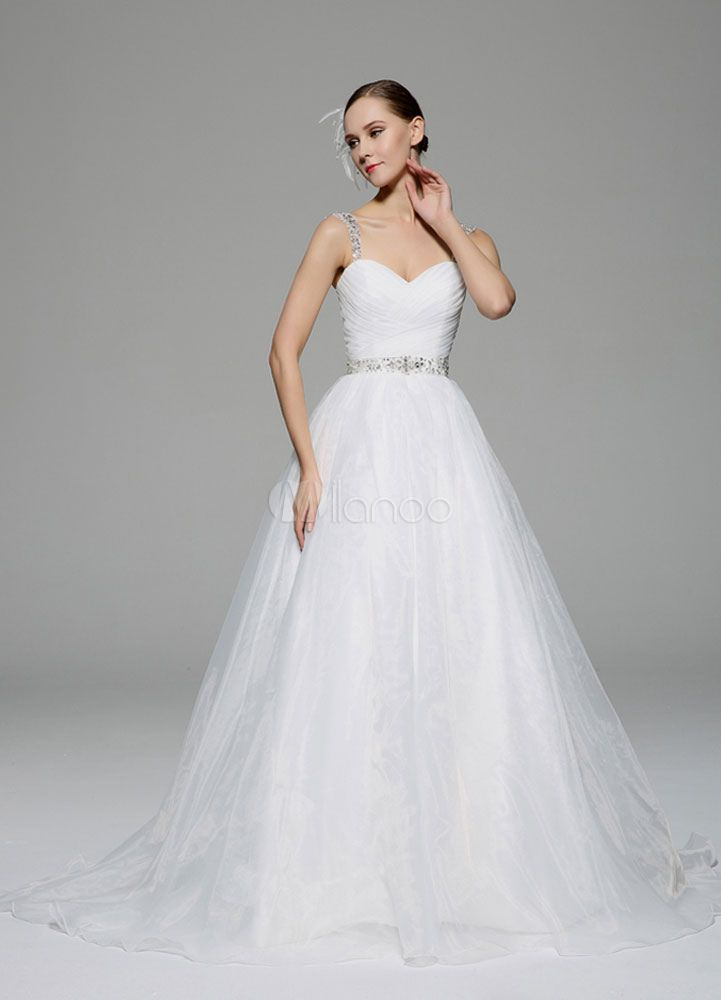 Marfim casamento vestido alças Rhinestone sem encosto tule vestido de noiva - Milanoo.com