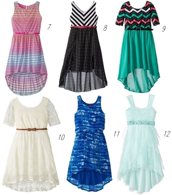 hi-low dresses for girls 7-10