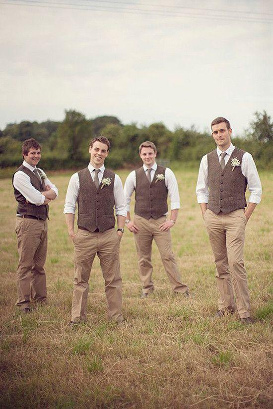 A rustic groom and groomsmen  look.