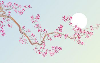 Cherry Blossom and Moon Stencil. Large Blossom Branch Stencil