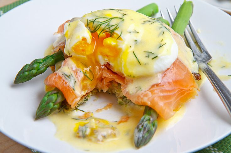 Elegant, and quite frankly, looks MOUTHWATERING. Smoked Salmon Asparagus Quinoa Cake Eggs Benedict