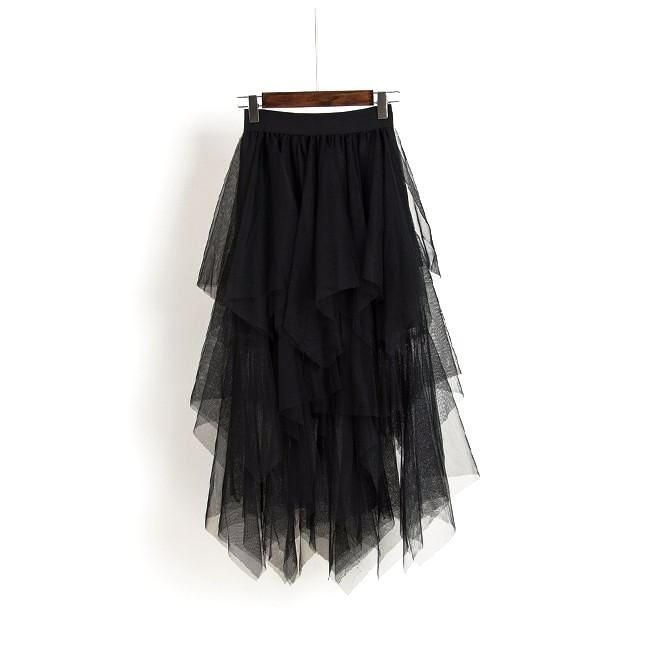 Womens Long Black High Waisted Tulle Tu Tu Hi-Lo Skirt One Size Fits All