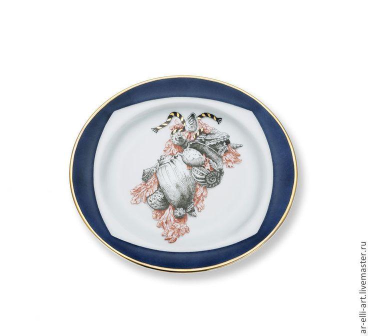"Купить Фарфоровая декоративная тарелка ""Дар моря"" - чёрно-белый, фарфор, фарфоровая тарелка"