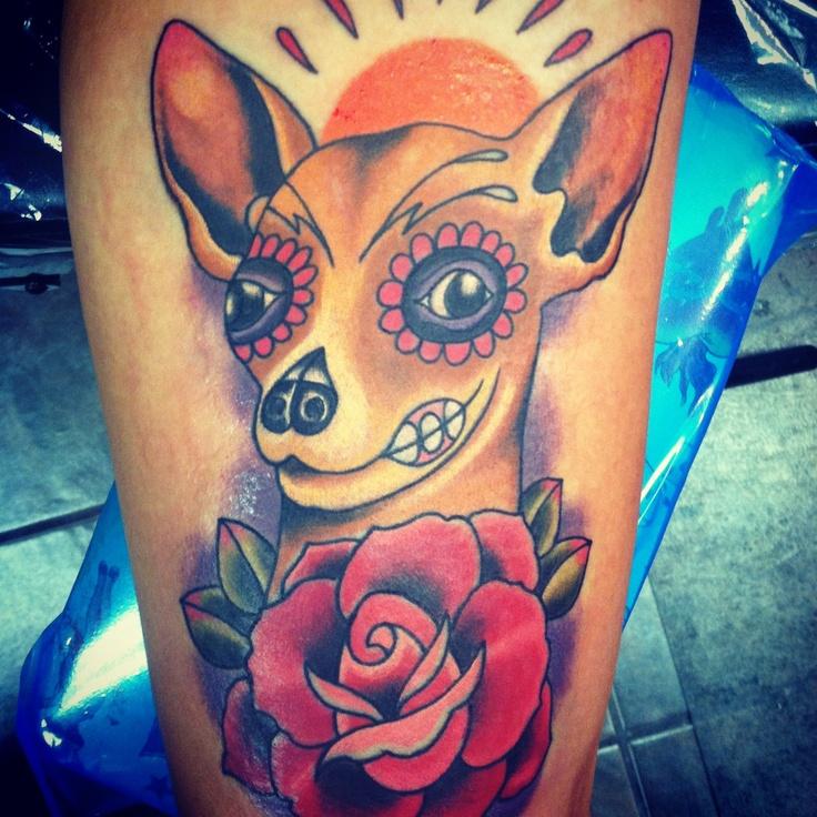 Chihuahua Sugar Skull Tattoo.  Done by Reagan Chapman at Texas Body Art.