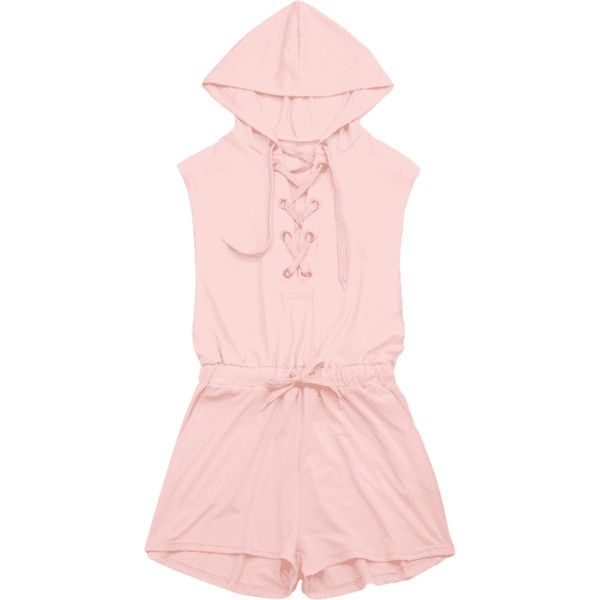 Lace Up Drawstring Hooded Romper ($19) ❤ liked on Polyvore featuring jumpsuits, rompers, playsuit romper, jump suit, lace up jumpsuit, pink jumpsuit and romper jumpsuit