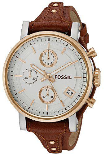 Fossil Women's ES3837 Original Boyfriend Chronograph Leather Watch - Light Brown