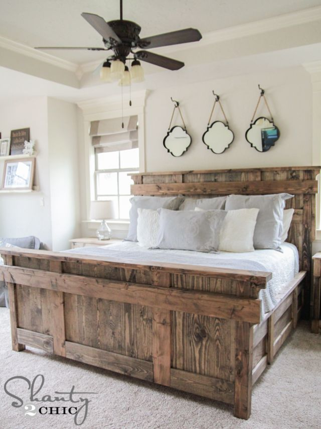 13 Free DIY Bed Plans for Adults and Children: Free King Size Bed Plan at Shanty 2 Chic