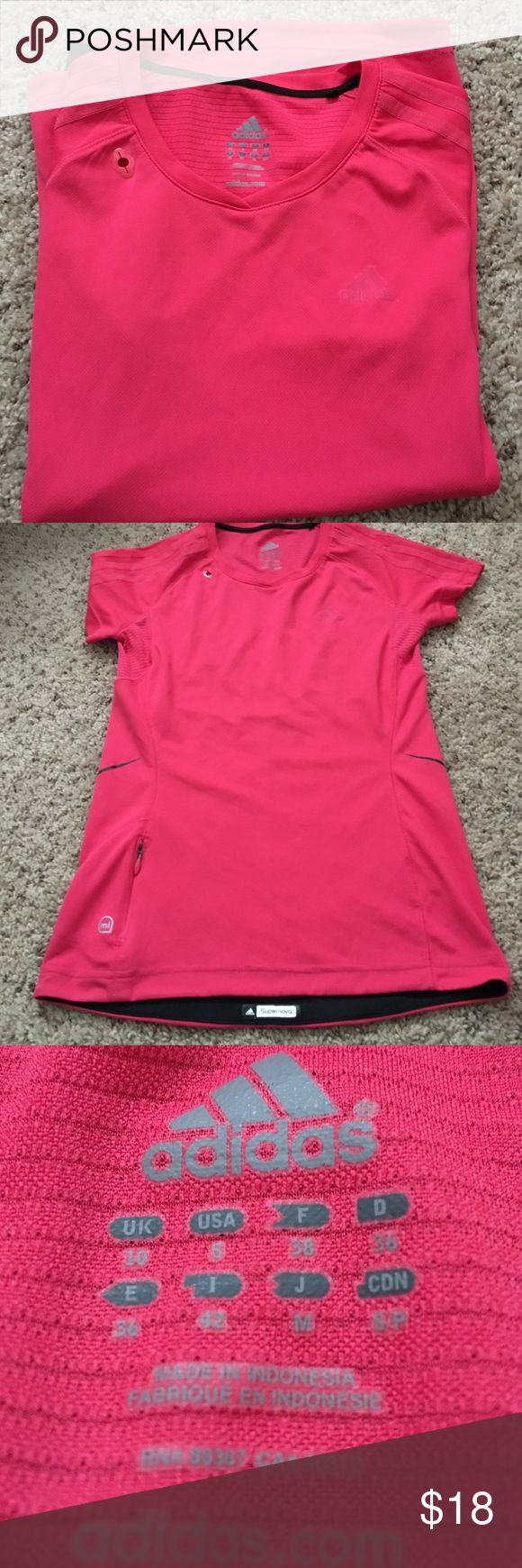 Adidas supernova tee Almost new.great condition. No wear/ tear. Color coral Adidas Tops Tees - Short Sleeve