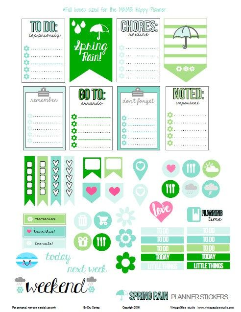 Spring Rain Planner Stickers   Free printable, for personal use only. Sized for the MAMBI Happy Planner