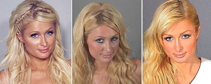 Paris Hilton was arrested for cocaine possession in Las Vegas in 2010, and she got her third mugshot in the process.  She was first arrested in 2006, then pleaded no contest in 2007 to alcohol-related reckless driving and went to jail. In her 2010 mugshot she is smiling, chin down, and wearing fake eyelashes.