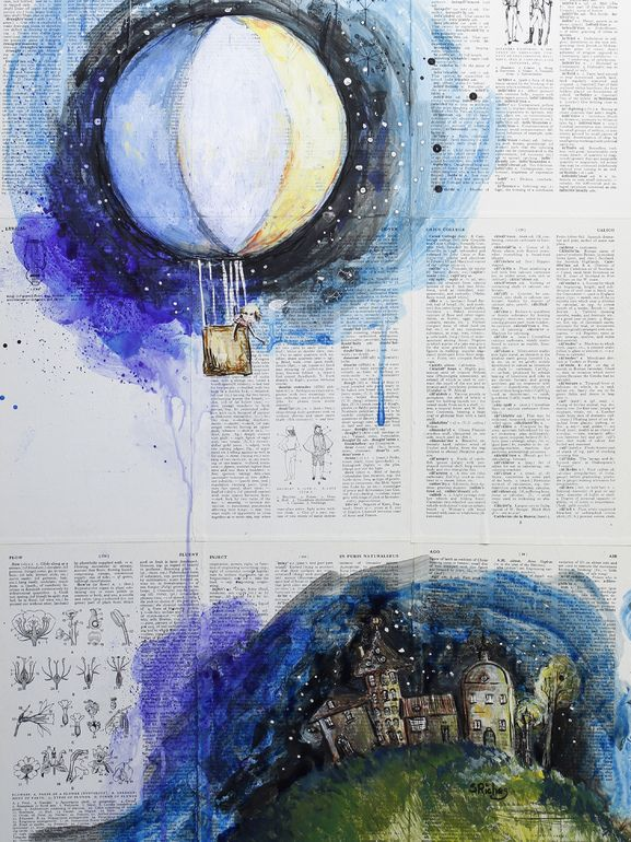 """Saatchi Online Artist: Sara Riches; Paint, 2013, Mixed Media """"Dreamer"""" Want to paint something like this"""