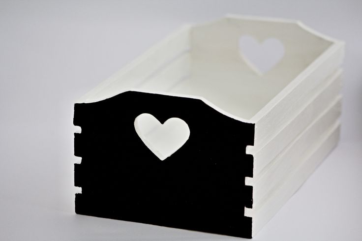 OCT: Wooden box hand painted crate white detail