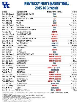 Wildcats Thunder Blog: 2015-16 UK Men's Basketball Schedule