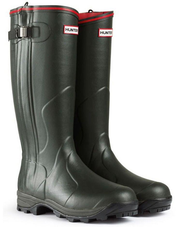 #Hunter Balmoral Neoprene Zip Wellington Boots - Dark Olive #WellingtonBoots
