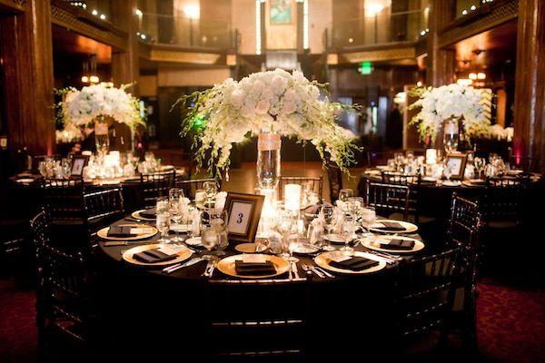 Elegant gold black wedding floral arrangements receptions and wedding - Black and gold wedding reception decorations ...