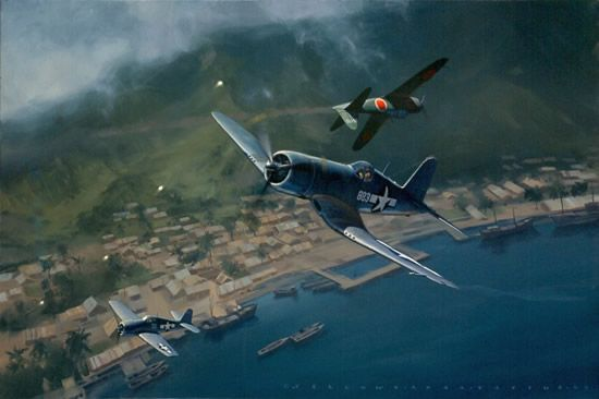"Part II. Lt. Col. Gregory Boyington (1912 - 1987) The Vought F4U ""Corsair"" was a U.S. Navy carrier based fighter; it was large and powerful, withy a maximum speed of 446 mph, a combat range of 1,000 miles. It had an armament of six .50 cal. machine guns; could carry two 1,000 lb. bombs. The F4U was a single seat aircraft; most war-built F4Us went to the Marines; a total of 12,570 Corsairs were built."