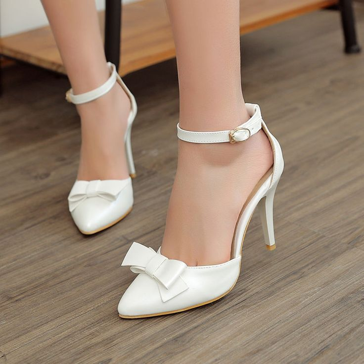 Stylish Trend Women Sandals Pointy Toe Sweet Bowknot Ankle Buckle Office Shoes