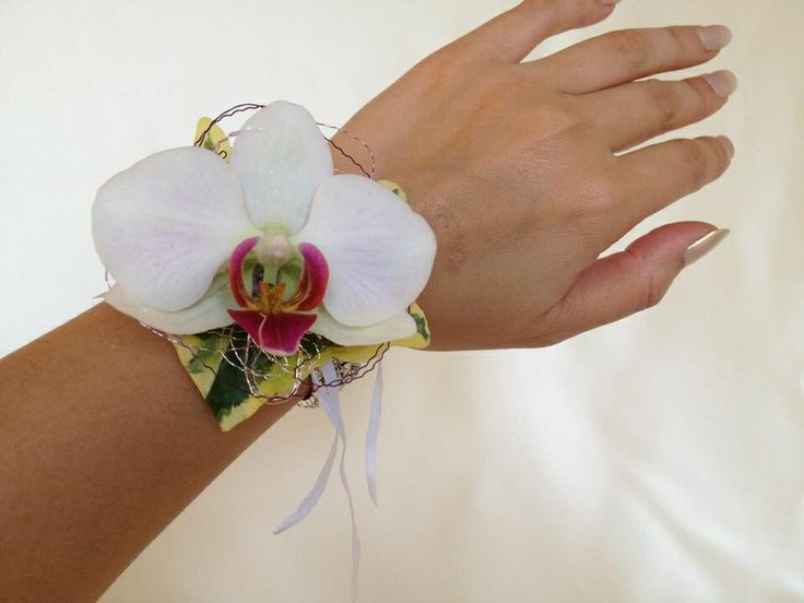 Purple lips orchid wrist corsage. Chanan's Floral Events