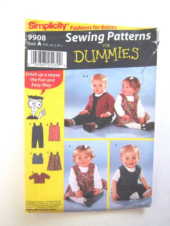 Childrens Wardrobe Pattern, Simplicity 9908 Sewing for Dummies, Pattern includes childs overalls, romper, dress jumper, jacket, and vest.