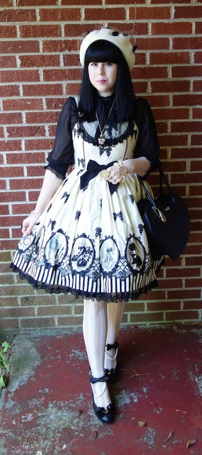 sugarypinkcupcake:  ❤ Angelic Pretty Cinema Doll ❤ JSK/Blouse/Shoes/Bracelets/Rings - Angelic Pretty Beret - Baby Ribbon Cerise Necklace - Franche Lippee Socks - Baby the Stars Shine Bright Bag - MILK
