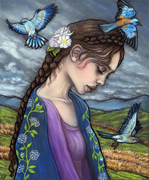 Adar Rhiannon goddess birds Celtic fine art print by MoonSpiralart