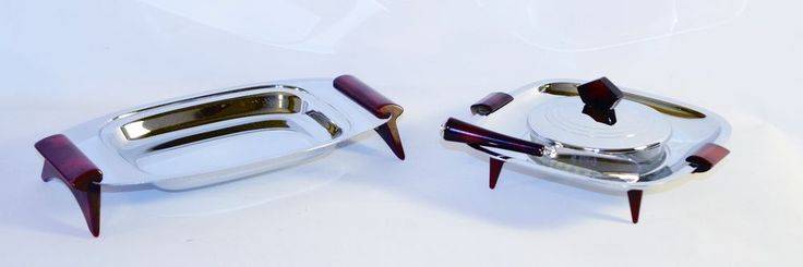 Art Deco Set of 4 Glo-Hill Chrome Butter Dish Knife and Tray Red Bakelite Handle