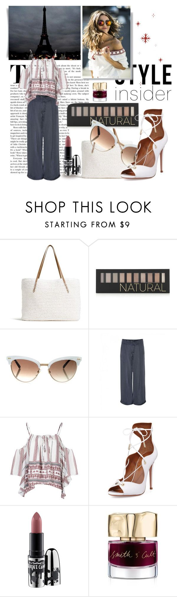 """Off White"" by karimaputri on Polyvore featuring G.H. Bass & Co., Forever 21, Gucci, Gestuz, Glamorous, Aquazzura, MAC Cosmetics, Smith & Cult, contestentry and laceupsandals"