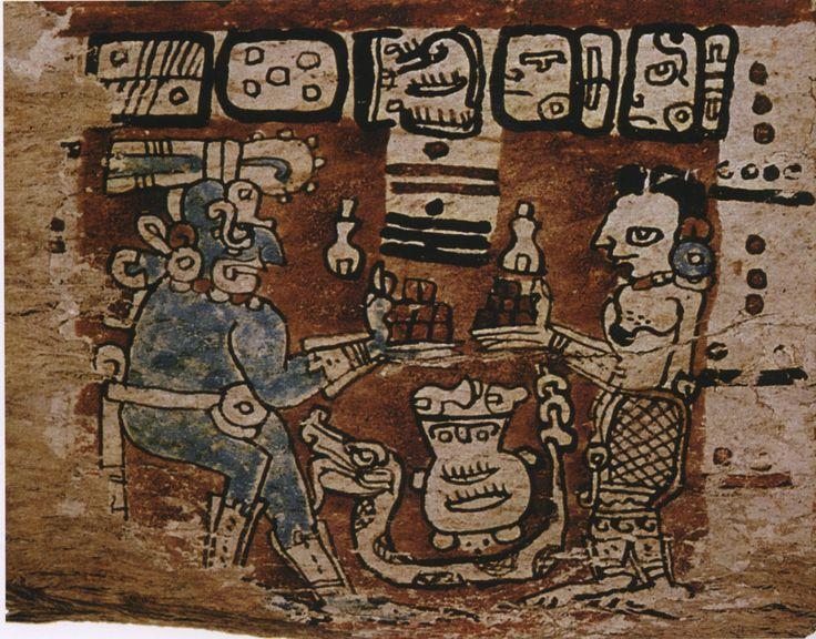 The Maya rain god Chac and the moon goddess IxChel exchange cacao ...