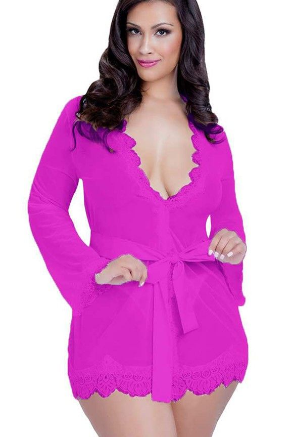Hot Fuschia Floral Sheer Robe  This stunning floral lace and satin robe in seductive hot fuschia is a great addition to any lingerie wardrobe.