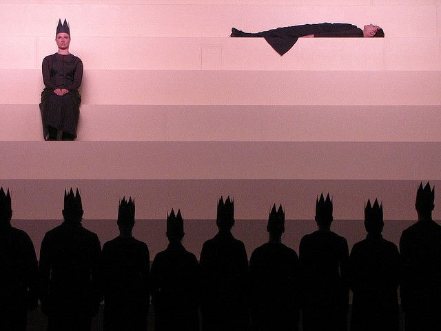 Lighting Design: Jesper Kongshaug for 'Operation Orfeo',1993. (Experimental Theatre Company 'Hotel Pro Forma') (interesting option for staging... height... US to cyc + fun options with lighting)