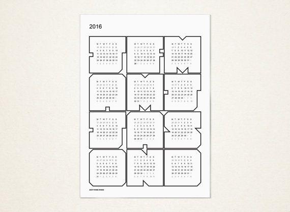 UPBEAT WHITE 2016 Wall Calendar por ShotTowerStudio en Etsy