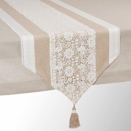 Chemin de table en coton beige L 150 cm WONDERFUL