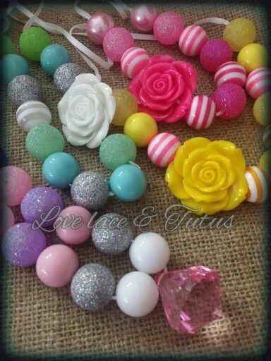 Bubblegum bead necklace - handmade