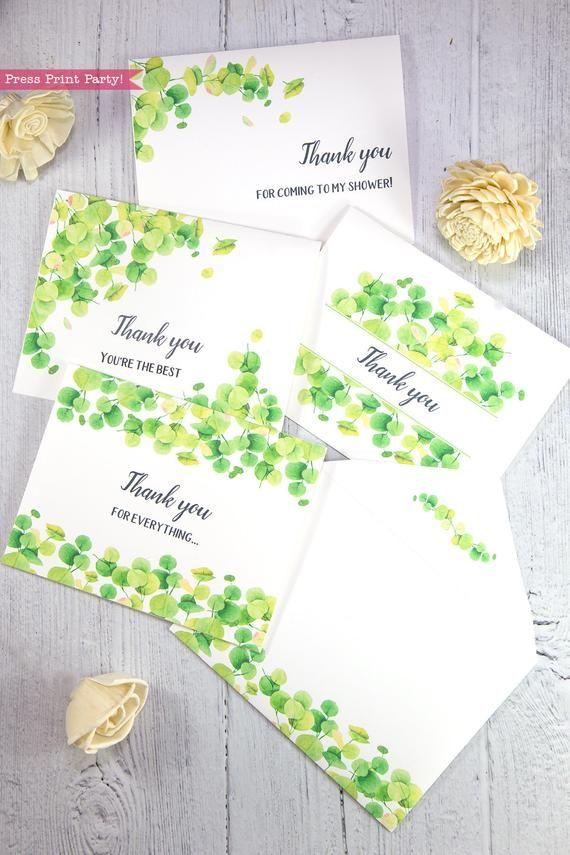 Thank You Cards Printable Template Set Eucalyptus Wedding Thank